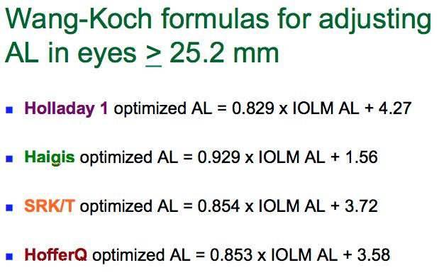 Tabla con la aplicación de la Formula de Wang-Koch