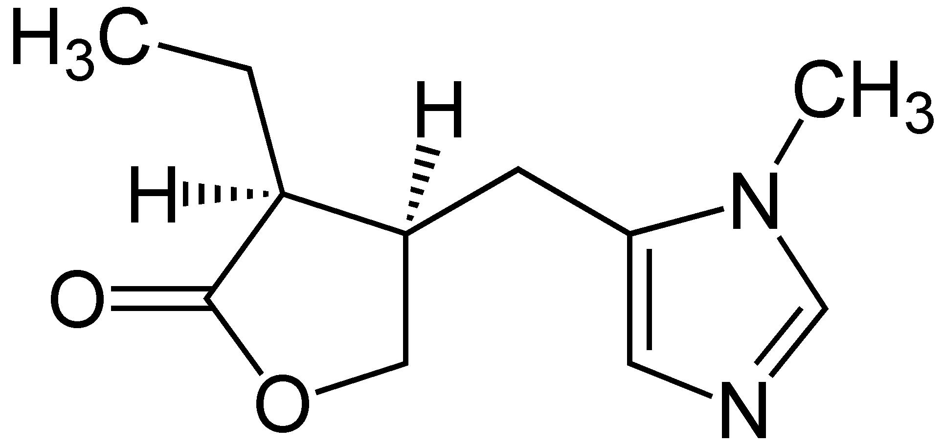 Estructura química de la Pilocarpina