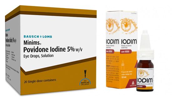 Preparados comerciales de Povidona Iodada: Minims al 5% en unidosis (no disponible en España) y Iodim colirio al 0.6%